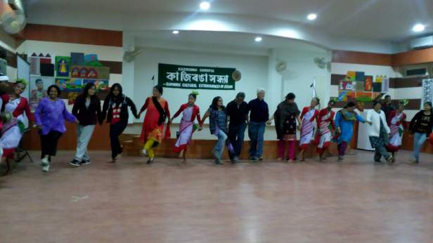 Guests dancing with the dancers at Kaziranga Sandhya